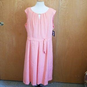Ellen Tracy Pleated Dress NWT Apricot  Size 16